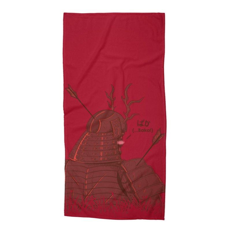Tsundere Samurai Accessories Beach Towel by Wolf Bite Shop