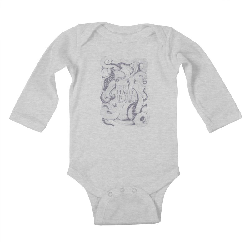 There's Beauty In The Unknown Kids Baby Longsleeve Bodysuit by Wolf Bite Shop