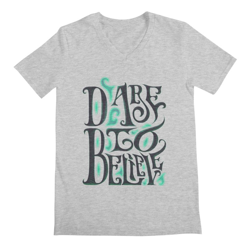 Dare To Believe Men's Regular V-Neck by Wolf Bite Shop