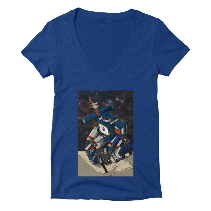 The Wave Women's Deep V-Neck V-Neck by wolly mcnair's Artist Shop