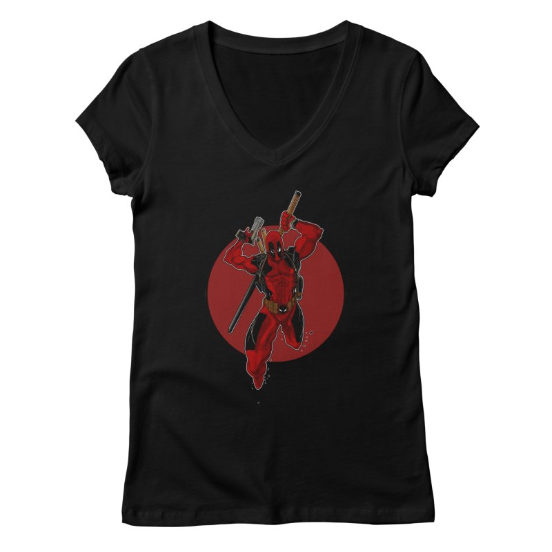 action!! Women's V-Neck by wolly mcnair's Artist Shop