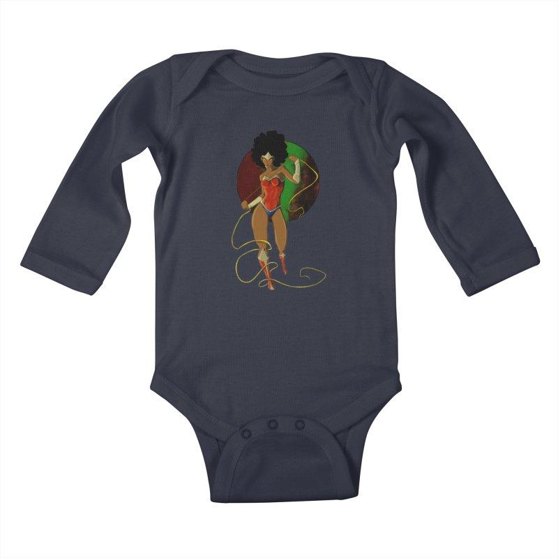 Nubia Kids Baby Longsleeve Bodysuit by wolly mcnair's Artist Shop