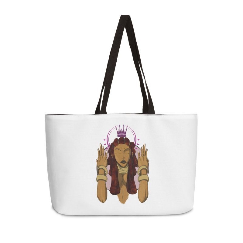 QUEEN Accessories Weekender Bag Bag by wolly mcnair's Artist Shop