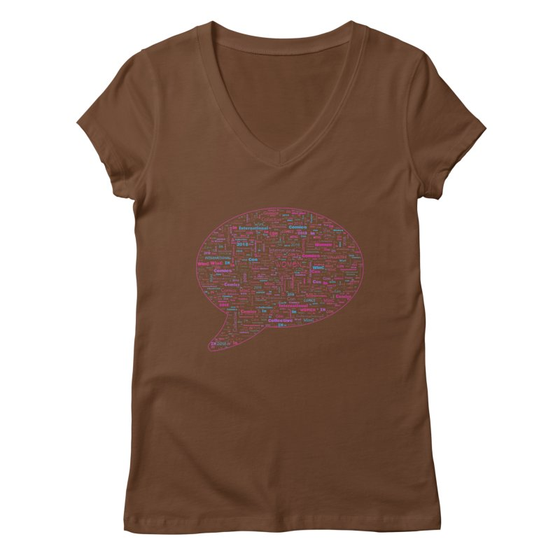 WinC Con 2018 Pink Women's V-Neck by Women in Comics Collective Artist Shop