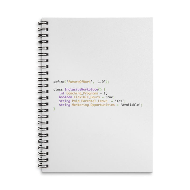 Future of work and inclusive workplace Accessories Lined Spiral Notebook by Women in Technology Online Store
