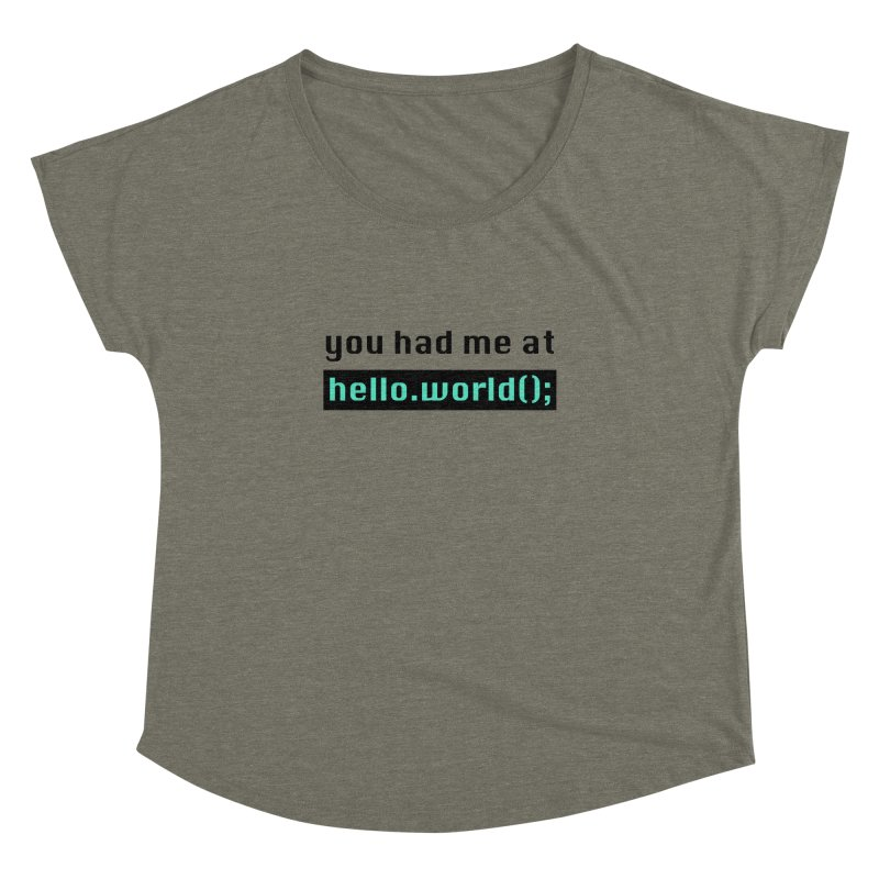 You had me at hello.world(); Women's Dolman Scoop Neck by Women in Technology Online Store