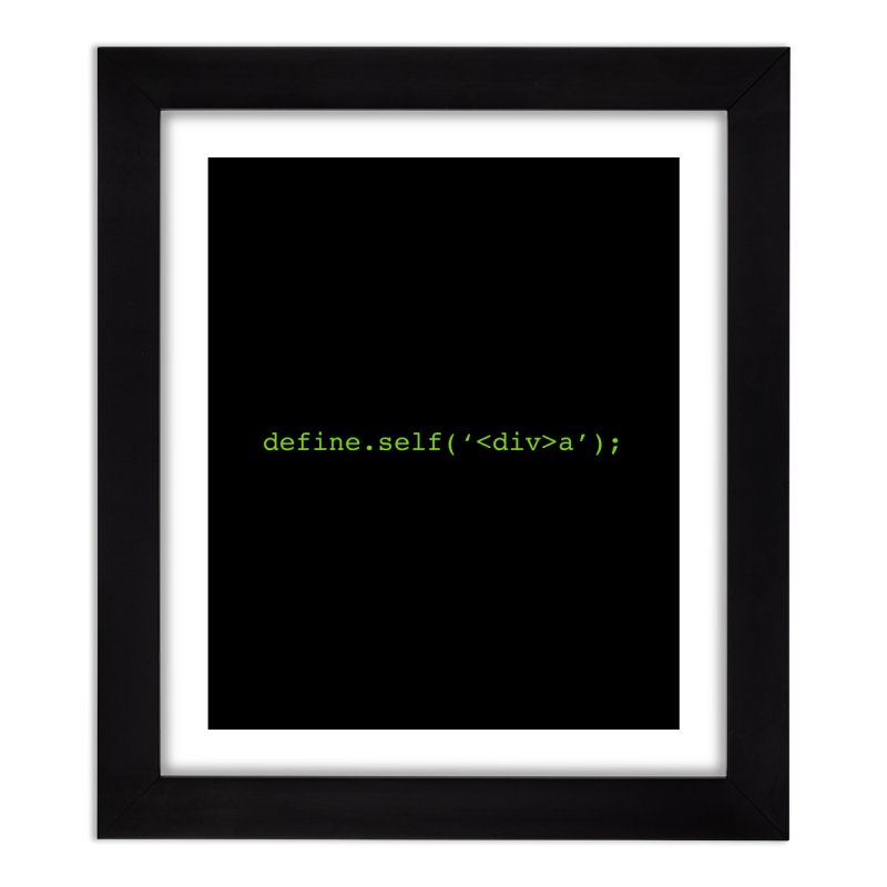 define.self('<div>a'); - A geeky diva Home Framed Fine Art Print by Women in Technology Online Store