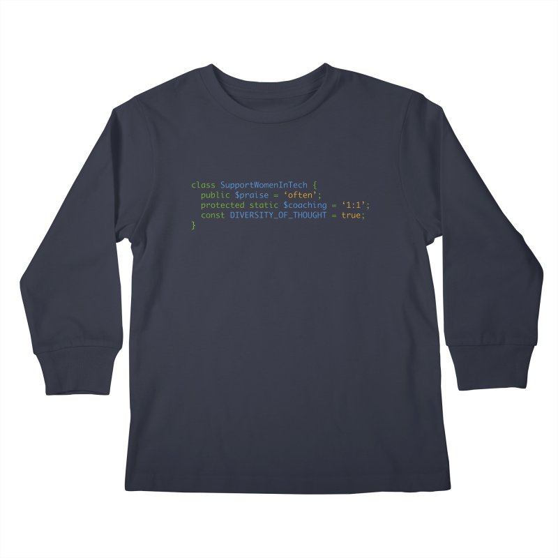 Support Women In Tech Kids Longsleeve T-Shirt by Women in Technology Online Store