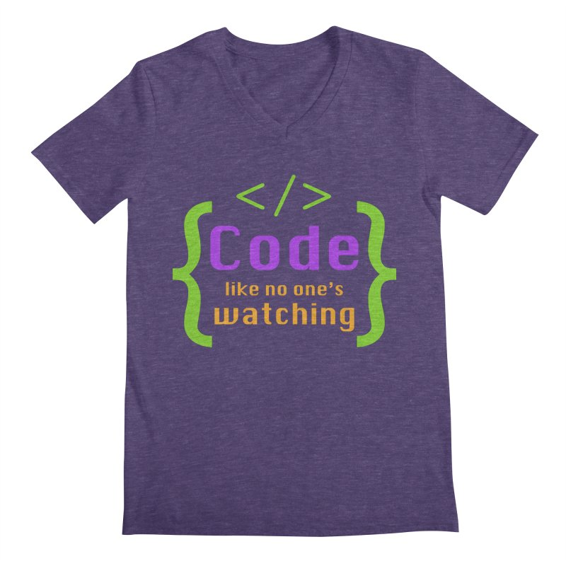 Code Like No One Is Watching Men's Regular V-Neck by Women in Technology Online Store
