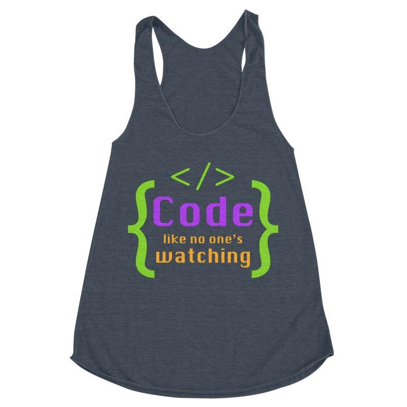 Code Like No One Is Watching Women's Racerback Triblend Tank by Women in Technology Online Store
