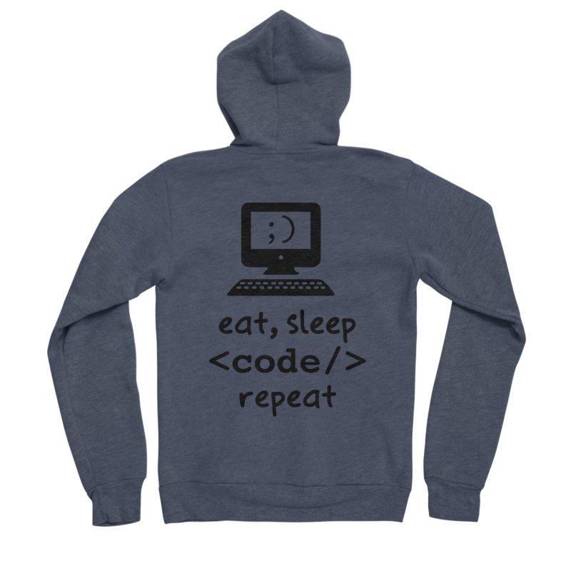Eat, Sleep, <Code/>, Repeat Women's Sponge Fleece Zip-Up Hoody by Women in Technology Online Store