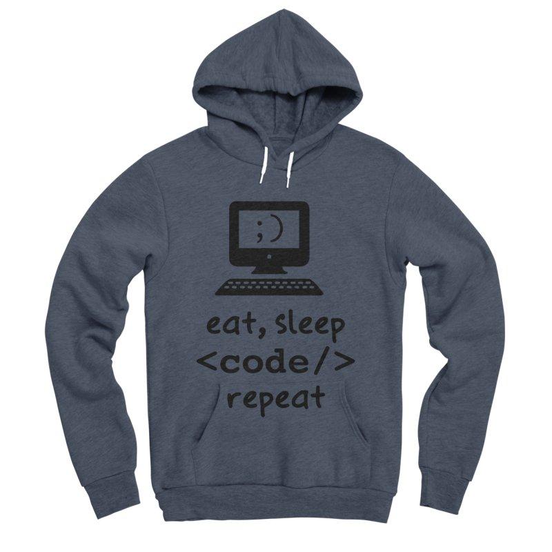 Eat, Sleep, <Code/>, Repeat Men's Sponge Fleece Pullover Hoody by Women in Technology Online Store