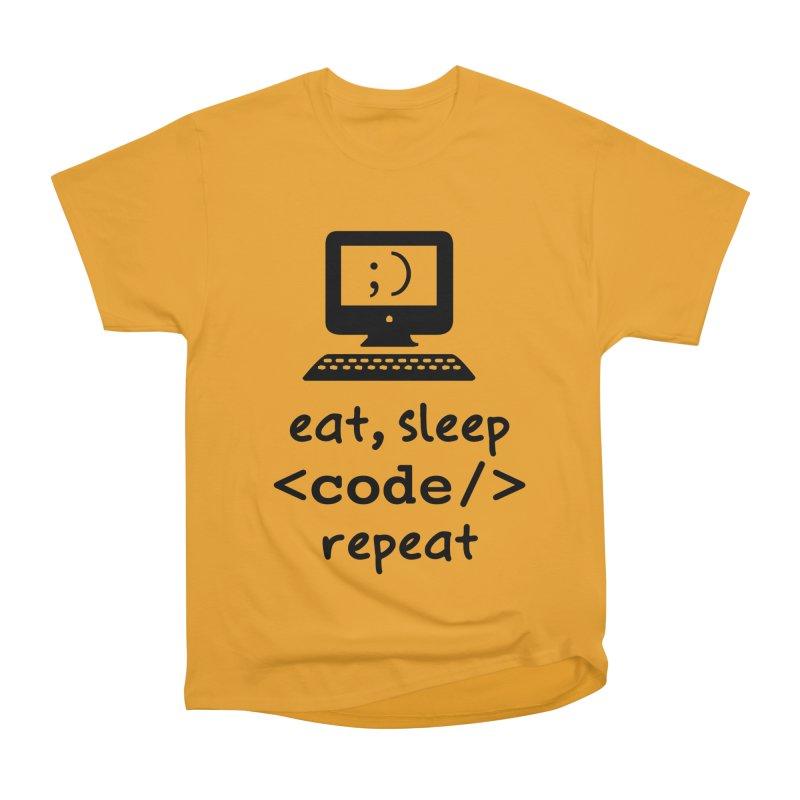 Eat, Sleep, <Code/>, Repeat Men's Heavyweight T-Shirt by Women in Technology Online Store