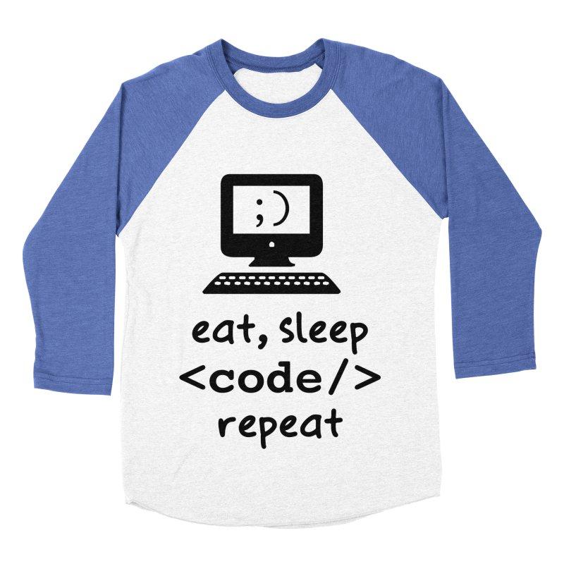 Eat, Sleep, <Code/>, Repeat Women's Baseball Triblend Longsleeve T-Shirt by Women in Technology Online Store