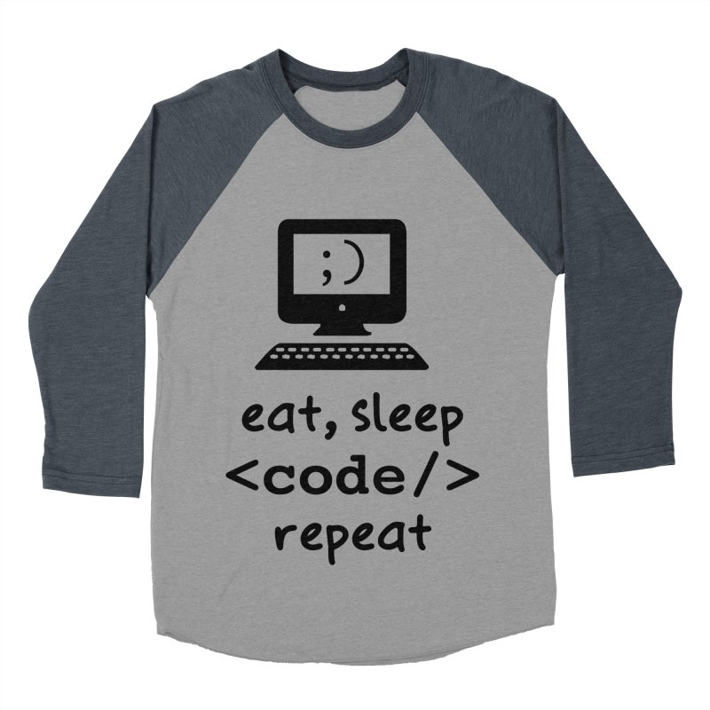Eat, Sleep, <Code/>, Repeat Men's Baseball Triblend Longsleeve T-Shirt by Women in Technology Online Store