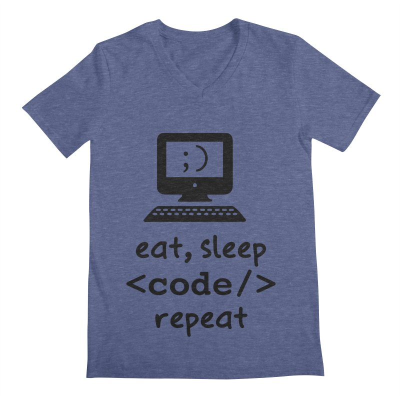 Eat, Sleep, <Code/>, Repeat Men's V-Neck by Women in Technology Online Store