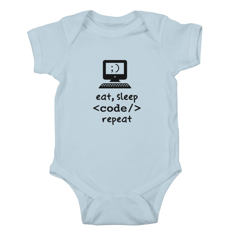 Eat, Sleep, <Code/>, Repeat Kids Baby Bodysuit by Women in Technology Online Store