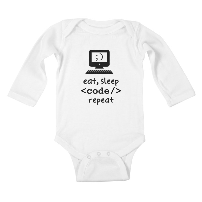 Eat, Sleep, <Code/>, Repeat Kids Baby Longsleeve Bodysuit by Women in Technology Online Store