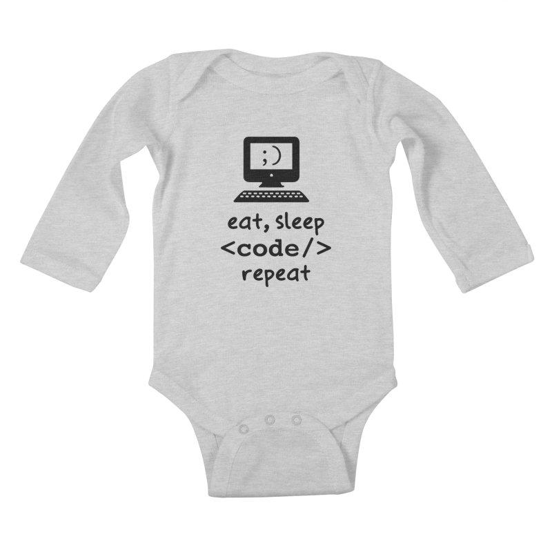 Eat, Sleep, <Code/>, Repeat Kids Baby Longsleeve Bodysuit by Women in Technology Online Store