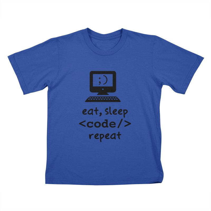 Eat, Sleep, <Code/>, Repeat Kids T-Shirt by Women in Technology Online Store
