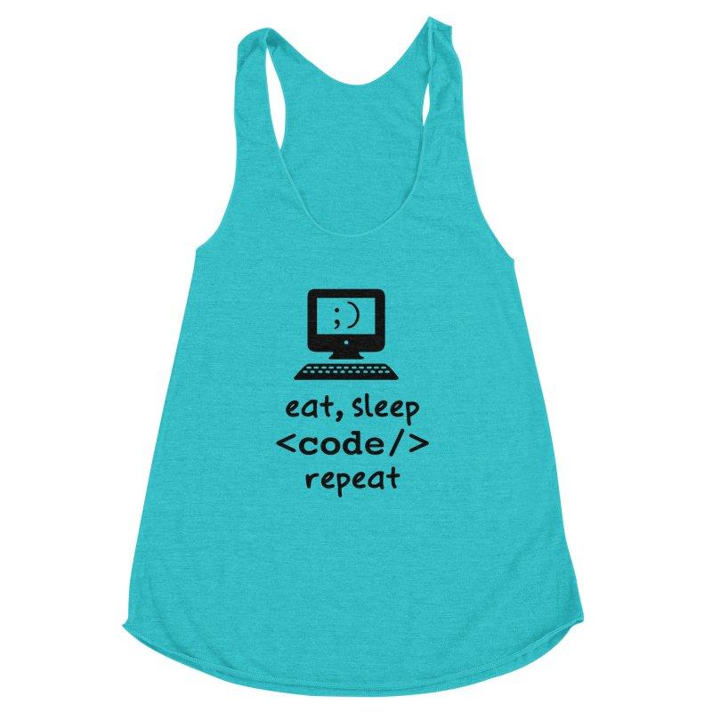 Eat, Sleep, <Code/>, Repeat Women's Racerback Triblend Tank by Women in Technology Online Store