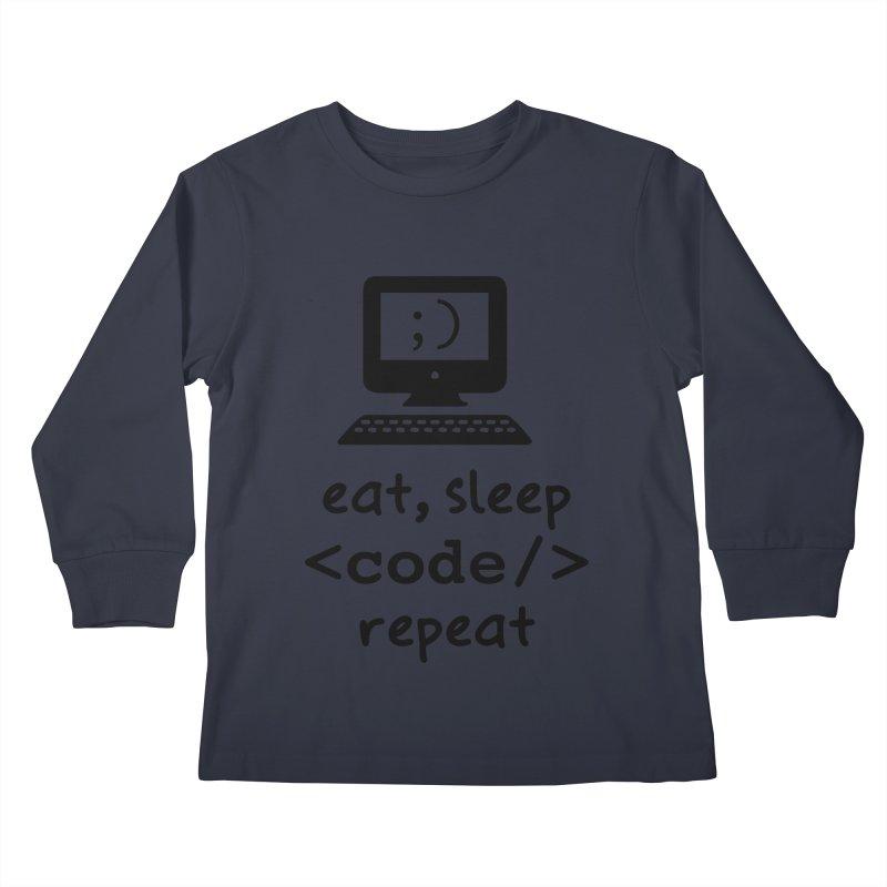 Eat, Sleep, <Code/>, Repeat Kids Longsleeve T-Shirt by Women in Technology Online Store