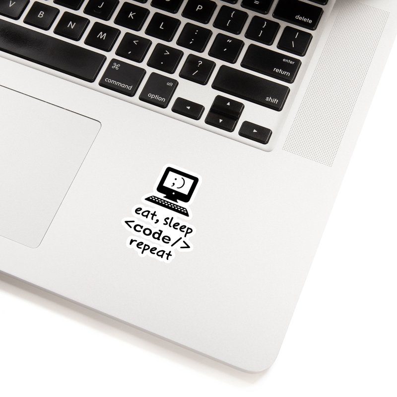Eat, Sleep, <Code/>, Repeat Accessories Sticker by Women in Technology Online Store