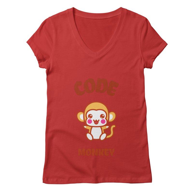 Code Monkey Women's Regular V-Neck by Women in Technology Online Store