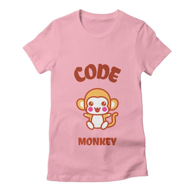 Code Monkey Women's Fitted T-Shirt by Women in Technology Online Store