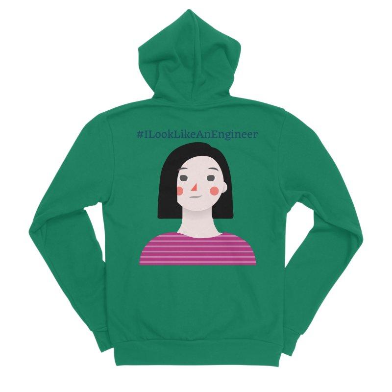 #ILookLikeAnEngineer with a female avatar Women's Sponge Fleece Zip-Up Hoody by Women in Technology Online Store