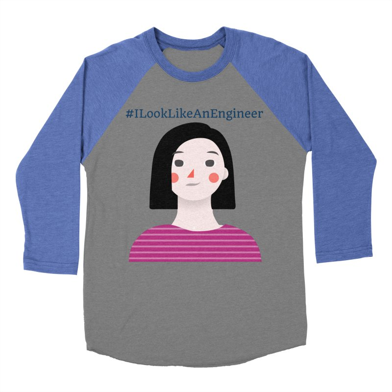 #ILookLikeAnEngineer with a female avatar Men's Baseball Triblend Longsleeve T-Shirt by Women in Technology Online Store