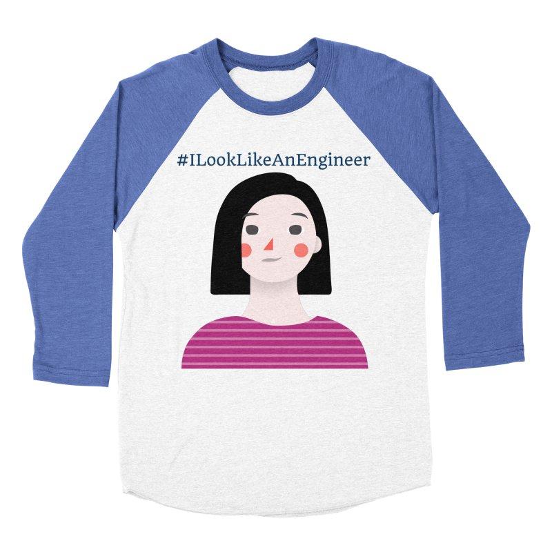 #ILookLikeAnEngineer with a female avatar Men's Baseball Triblend Longsleeve T-Shirt by Women in Technology Online Store
