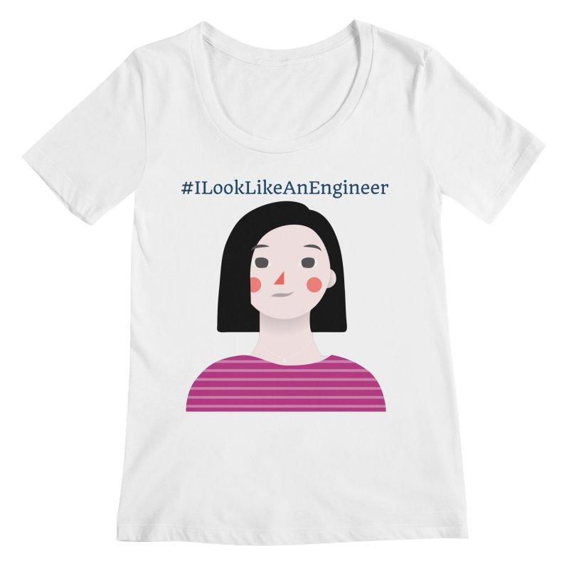 #ILookLikeAnEngineer with a female avatar Women's Regular Scoop Neck by Women in Technology Online Store