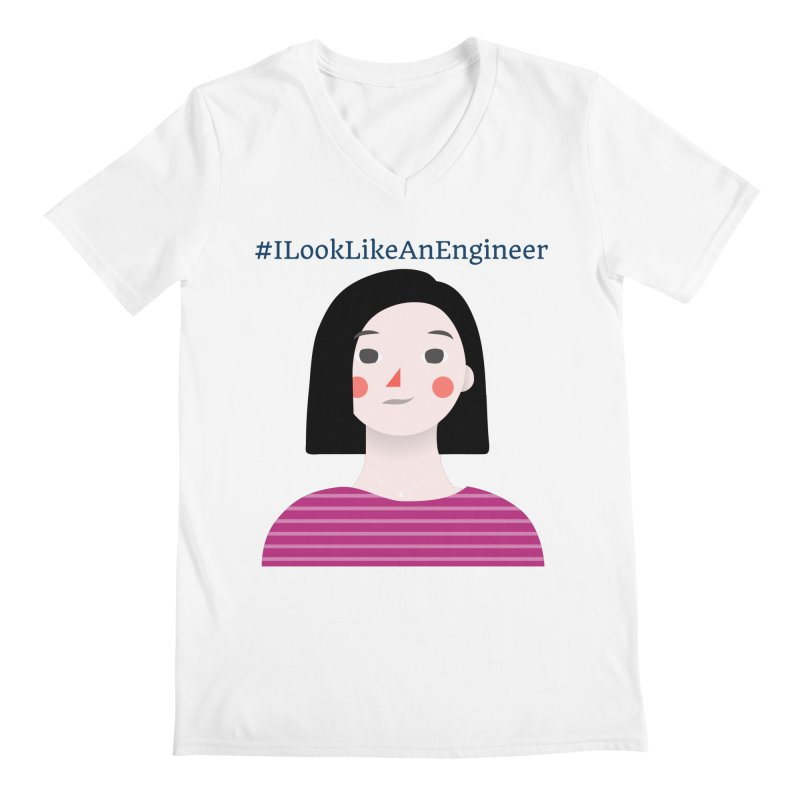 #ILookLikeAnEngineer with a female avatar Men's V-Neck by Women in Technology Online Store