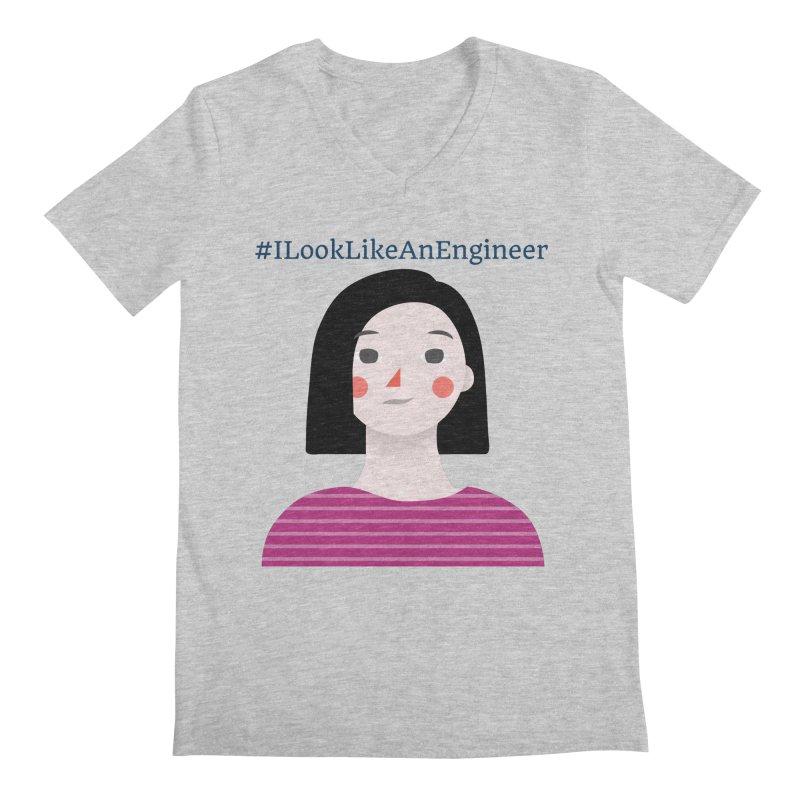 #ILookLikeAnEngineer with a female avatar Men's Regular V-Neck by Women in Technology Online Store