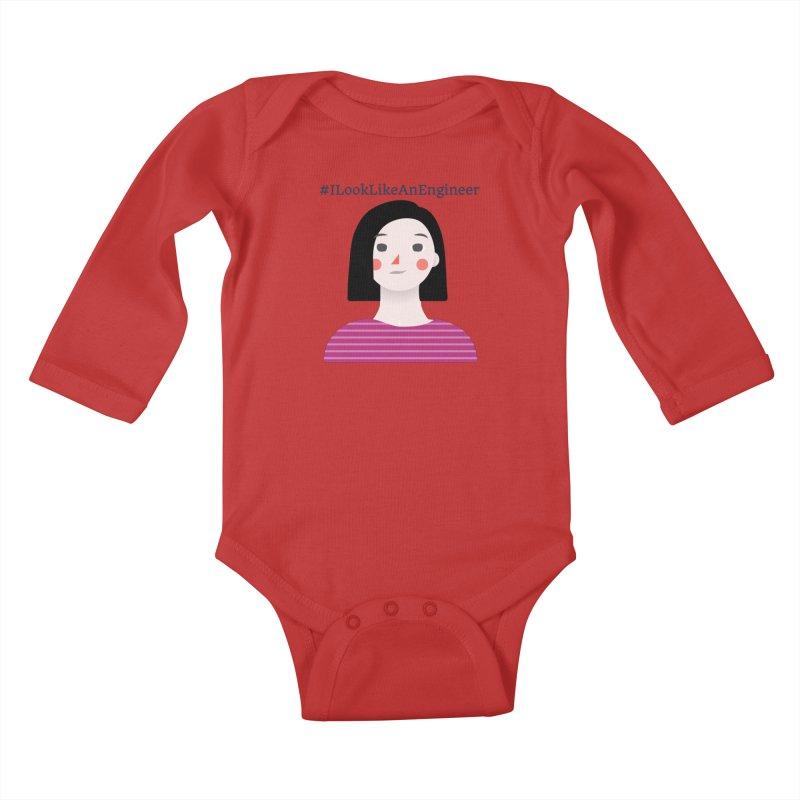 #ILookLikeAnEngineer with a female avatar Kids Baby Longsleeve Bodysuit by Women in Technology Online Store