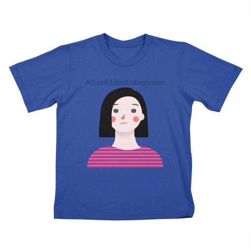 #ILookLikeAnEngineer with a female avatar Kids T-Shirt by Women in Technology Online Store