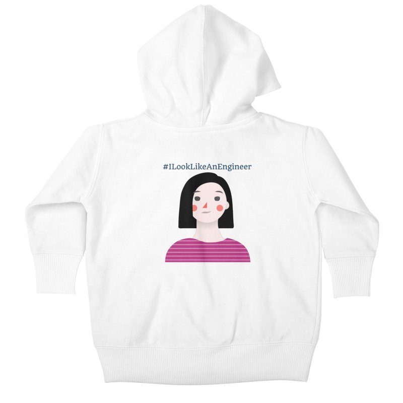 #ILookLikeAnEngineer with a female avatar Kids Baby Zip-Up Hoody by Women in Technology Online Store