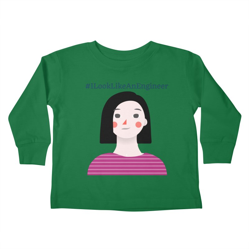 #ILookLikeAnEngineer with a female avatar Kids Toddler Longsleeve T-Shirt by Women in Technology Online Store
