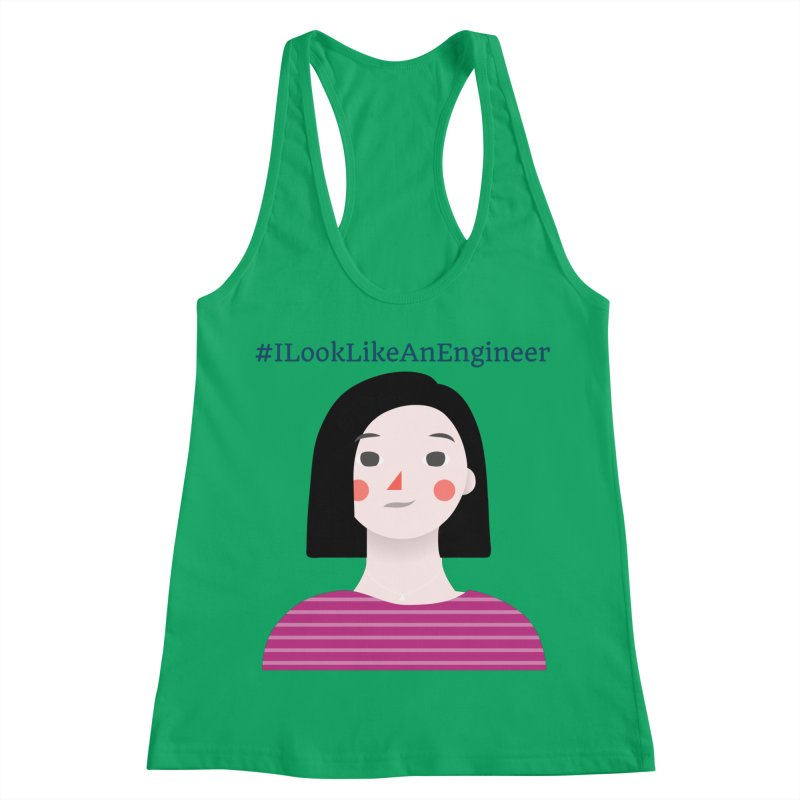 #ILookLikeAnEngineer with a female avatar Women's Racerback Tank by Women in Technology Online Store
