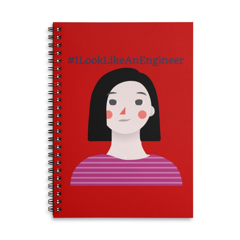 #ILookLikeAnEngineer with a female avatar Accessories Lined Spiral Notebook by Women in Technology Online Store
