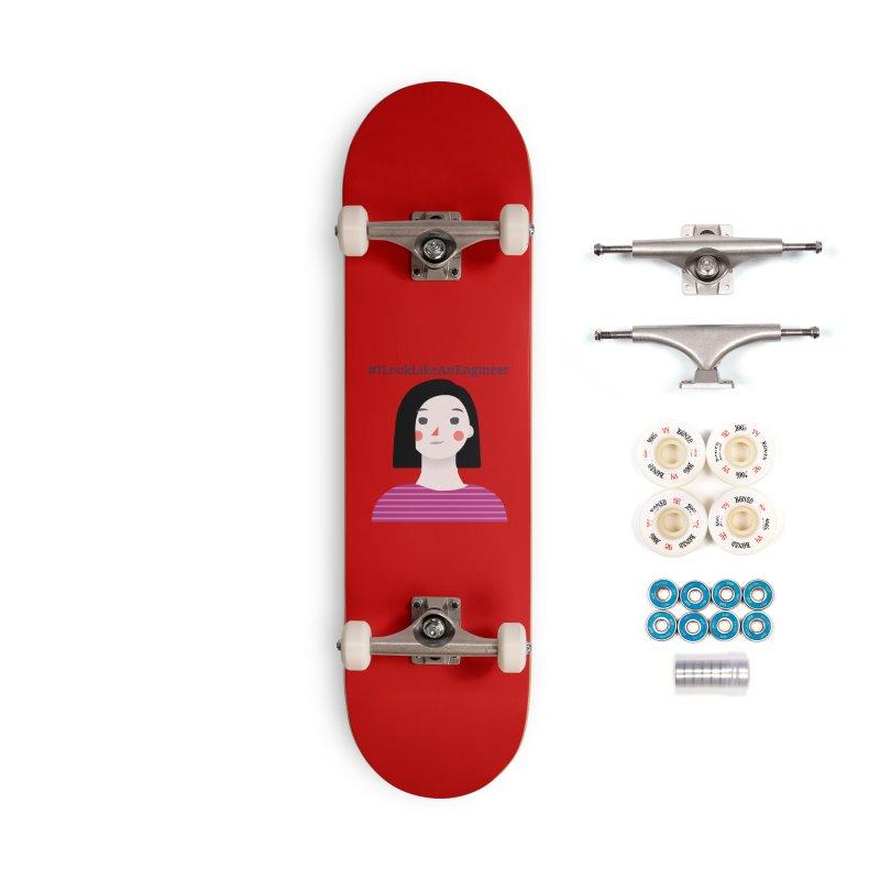 #ILookLikeAnEngineer with a female avatar Accessories Skateboard by Women in Technology Online Store
