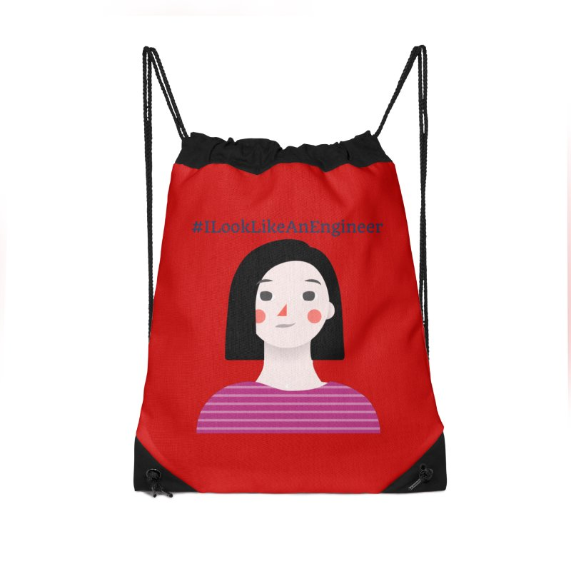#ILookLikeAnEngineer with a female avatar Accessories Drawstring Bag Bag by Women in Technology Online Store