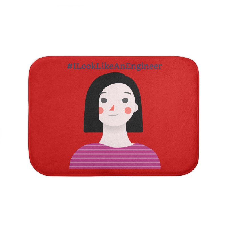 #ILookLikeAnEngineer with a female avatar Home Bath Mat by Women in Technology Online Store