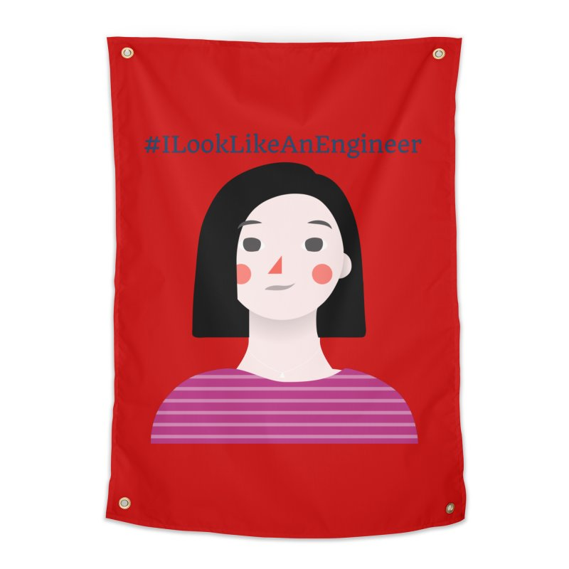 #ILookLikeAnEngineer with a female avatar Home Tapestry by Women in Technology Online Store