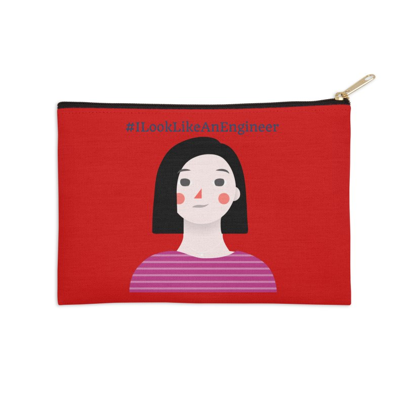 #ILookLikeAnEngineer with a female avatar Accessories Zip Pouch by Women in Technology Online Store