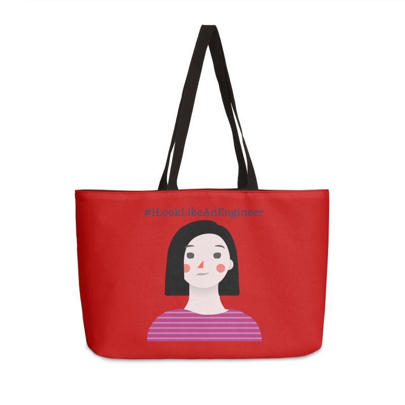#ILookLikeAnEngineer with a female avatar Accessories Weekender Bag Bag by Women in Technology Online Store
