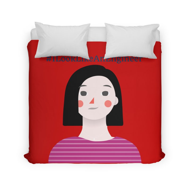 #ILookLikeAnEngineer with a female avatar Home Duvet by Women in Technology Online Store