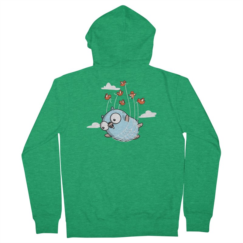 Fly Away With Me Gopher (Blue) Men's Zip-Up Hoody by Women Who Go
