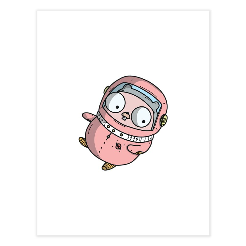 Space Gopher (Pink) Home Fine Art Print by Women Who Go